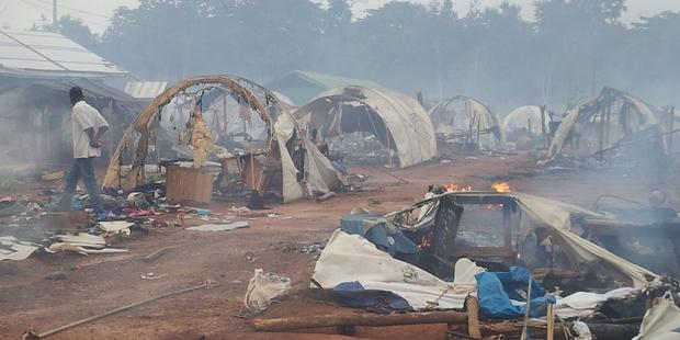 Nahibly Camp, in Cote d'Ivoire, a few hours after its destruction on 20 July 2012.