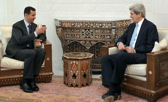 Syria's President Bashar al-Assad meets Senator John Kerry in Damascus