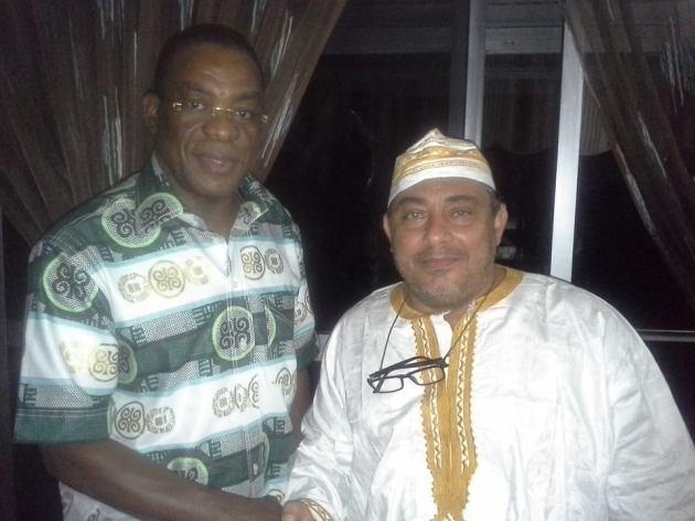 Sam en compagnie du président Affi N'Guessan