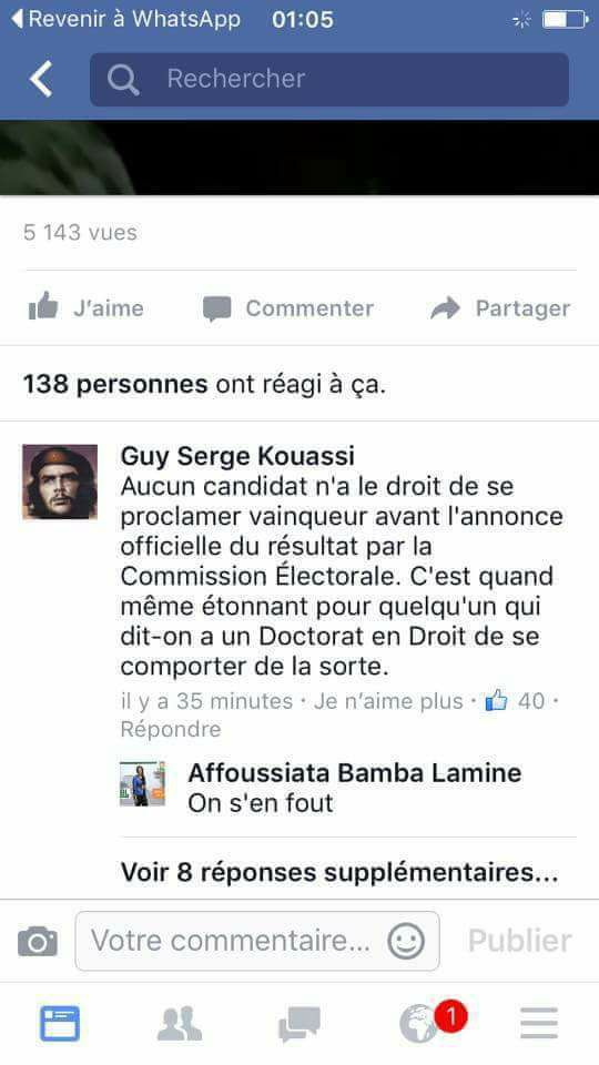 Affoussiata Bamba sur sa page Face Book